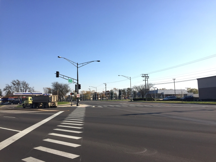 The intersection of Rand Road and Central Road at the southern edge of the study area involves two four-lane roads intersecting, creating a long distance for pedestrians to easily cross.